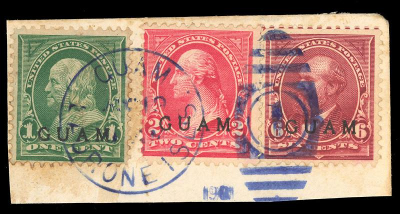 GUAM 1, 2 & 6 on Piece - VERY SCARCE! Cat $240.00+ - Stuart Katz