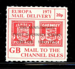 GREAT BRITAIN 1971 STRIKE POST LABELS 20p MAIL TO CHANNEL ISLANDS Issue MNH