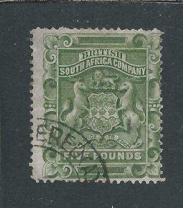 RHODESIA 1892-93 £5 SAGE-GREEN FU SG 12 CAT £450