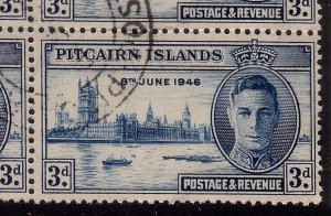 PITCAIRN 1946 Victory 3d FLAGSTAFF FLAW SG10a in block of 4 used...........41349