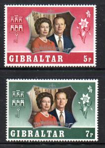 Gibraltar Sc 292-3 1972 Royal Anniv stamp set mint NH