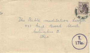 South Africa 2d Zebra 1955 Darnall to Columbus, Ohio.  Shortpaid so rated sl ...
