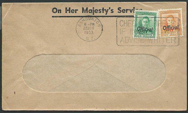 NEW ZEALAND 1953 OHMS cover GVI Officials Auckland pmk..................42207
