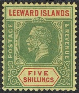 LEEWARD ISLANDS 1921 KGV 5/- WMK MULTI SCRIPT CA