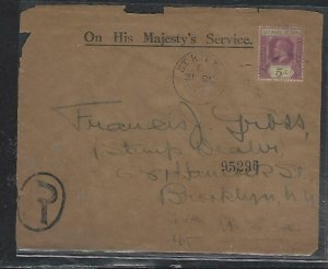 LEEWARD ISLANDS (P2808BB)1927 KGV 5D REG COVER FROM ST KITTS TO USA