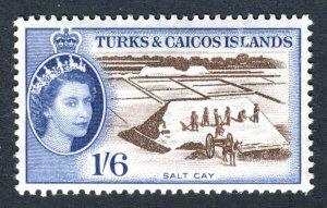 Turks & Caicos Islands 1957 QEII. 1/6d sepia & deep ultra. Mint (NH). SG247.