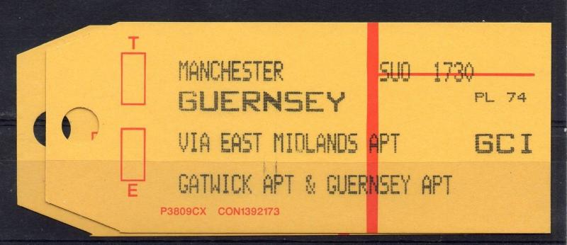 GB = 1994 Bag Label, MANCHESTER to GUERNSEY by EAST MIDLANDS & GATWICK AIRMAIL