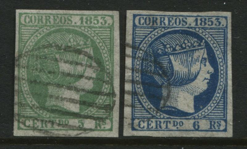 Spain 1853  5 and 6 reals nice used examples