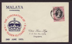 Malaya Kelantan 71 Queen Elizabeth II Coronation Typed FDC