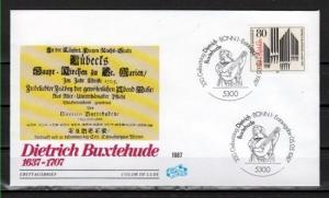 Germany, Scott cat. 1507. Composer Buxtehude issue. First day cover. Organist.