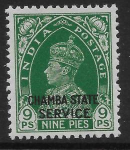 INDIA-CHAMBA SGO66 1938 9p GREEN MNH