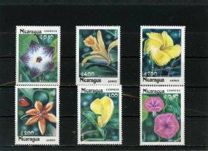 NICARAGUA 1985 FLOWERS SET OF 6 STAMPS MNH