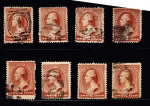 US STAMP #210 – 1883 2c Washington, red brown USED STAMPS COLLECTION LOT