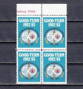 Denmark, 1982 issue. Good-Turn Scout label as a Block of 4.