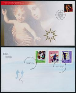 Canada 2183-6 on FDC's - Christmas, Madonna & Child, Snowman