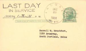 United States West Virginia Indore 1938 4c-bar  1915-1938  Postal Card  Phila...