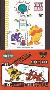 Nevis - 1994 Disney Tuff Mickey - Set of 2 Stamp Souvenir Sheets - Scott #837-8