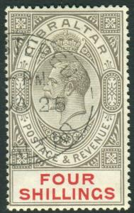 GIBRALTAR-1912-7 4/- Black & Carmine.  A very fine used example Sg 100