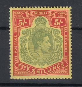 Bermuda KGVI 1938 5/- Green on Red MNH J5675