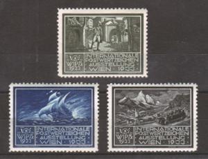 Austria mint 1933 WIPA Labels, 3 different, fresh, VF