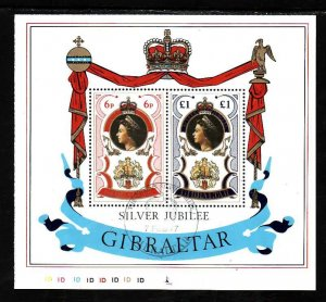 Gibraltar-Sc#339a- id5-used sheet-QEII-25th Reign-1977-