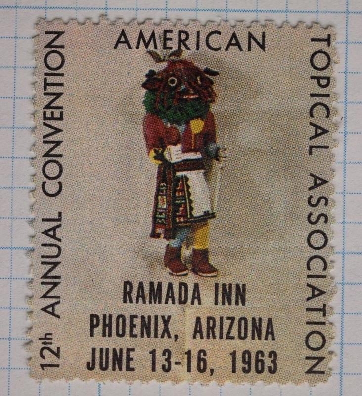 ATA Convention 1963 Phoenix AZ Stamp Philatelic Poster Topical Club Expo Kachina