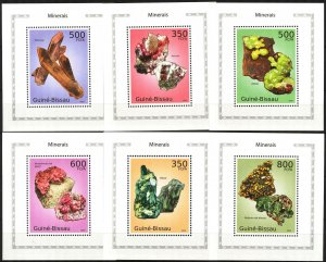{421} Guinea -Bissau 2010 Minerals 6 S/S Deluxe MNH**
