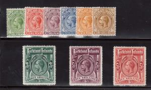 Falkland Islands #30 - #38 VF Mint Set