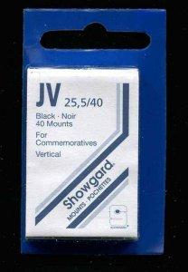 Showgard Black Stamp Mounts JV 25.5/40 PreCut  (40 count)  Commem Vertical