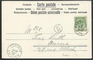 BELGIUM 1903 private postcard with 5c E Co PERFIN..........................61177