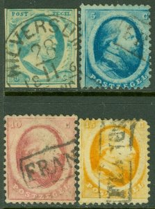 EDW1949SELL : NETHERLANDS 1852-64 Scott #1, 4-6 VF, Used. Nice & Sound. Cat $156