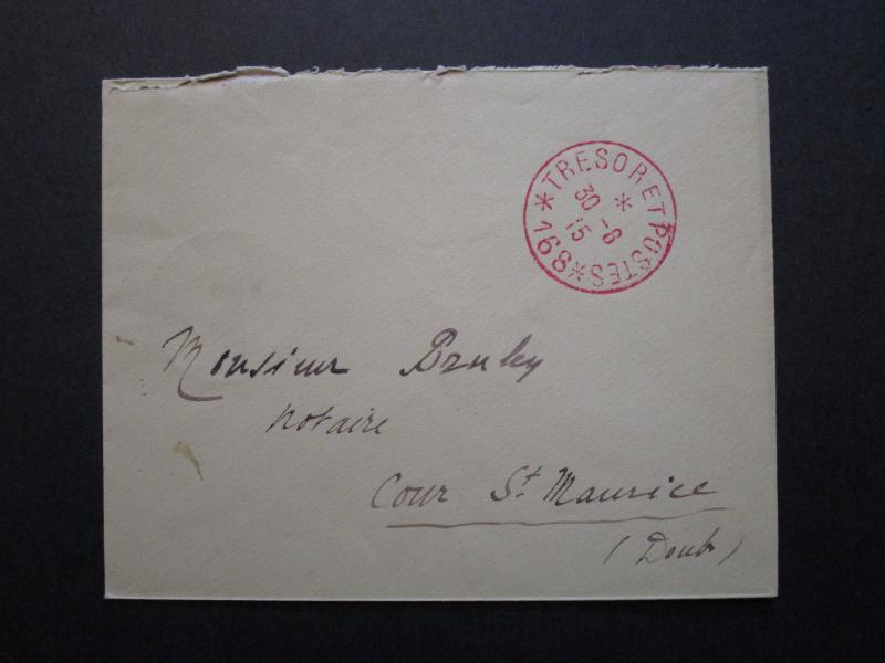 France 1915 Tresoret Postes Stampless Soldier Cover  - Z7081