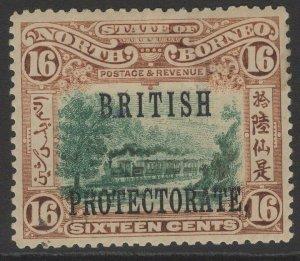 NORTH BORNEO SG136a 1902 16c GREEN & CHESTNUT p14½-15 MTD MINT