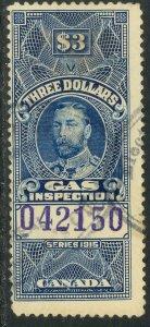 CANADA 1915 QV $3.00 GAS INSPECTION REVENUE VDM. FG31b USED