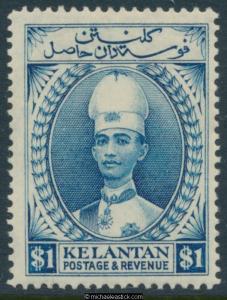 1928-35 Malaya Kelantan $1 Blue Sultan Ismail P 14 SG 39a MLH