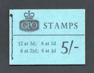 5/- BOOKLET JANUARY 1962 SG H54 Cat £95