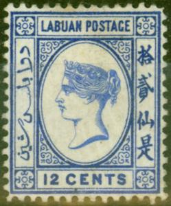 Labuan 1892 12c Brt Blue SG45a No Right Foot to 2nd Chinese Character Good Mtd M