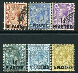 BRITISH LEVANT-1913-14 Set to 5pi  on 1/- Sg 35-40 FINE USED V13340