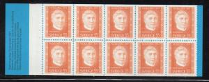 Sweden Sc 912a 1971 55o Nobel Prize stamp bklt of 10 mint NH