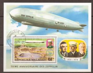 MALAGASY SGMS352 1976 ZEPPELIN SHEET F/USED
