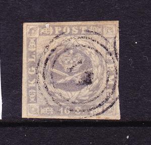 DENMARK  1854-59  16 sk  GREY LILAC  FU  Sc 6