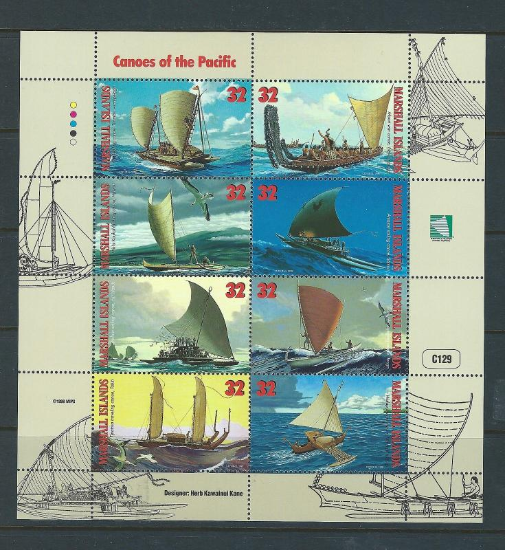 Marshall Islands #655 Minisheet of 8 stamps Canoes Pacific Sailing Ships