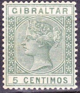 GIBRALTAR 1889 QV 5 Centimos Green SG22 MH