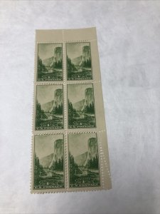 US 740 Yosemite National Parks 1C Block Of 6 Super Fold Over Mint Never Hinged