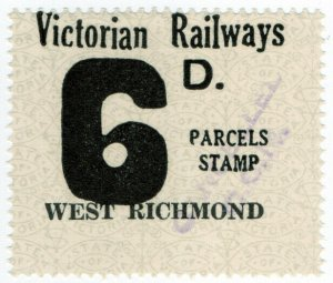 (I.B) Australia - Victoria Railways : Parcels Stamp 6d (West Richmond)