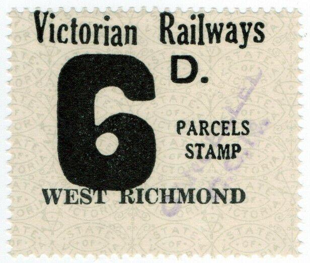 (I.B) Australia - Victoria Railways : Parcels Stamp 6d (West Richmond)