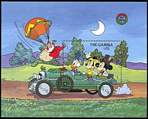 Gambia 936, MNH, Disney Christmas and Bentley Antique Automobile souvenir sheet