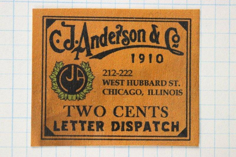 CJ Anderson Co 1910 Letter Dispatch Local Post stamp Chicago IL 2c