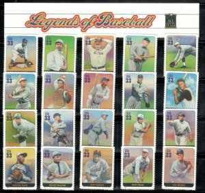 3408 (a-t) Legends Of Baseball 20 Singles With Header MNH FREE SHIPPING (A-424)