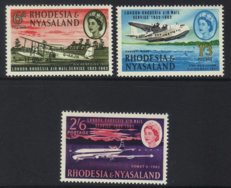 RHODESIA & NYASALAND 1962 30th ANNIV OF FIRST LONDON AIRMAIL SRVICE MH SET OF 3